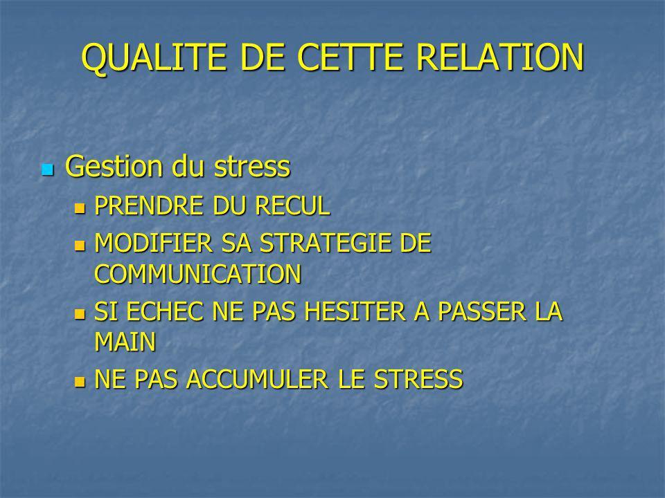 QUALITE DE CETTE RELATION Gestion du stress Gestion du stress PRENDRE DU RECUL PRENDRE DU RECUL MODIFIER SA STRATEGIE DE COMMUNICATION MODIFIER SA STRATEGIE DE COMMUNICATION SI ECHEC NE PAS HESITER A PASSER LA MAIN SI ECHEC NE PAS HESITER A PASSER LA MAIN NE PAS ACCUMULER LE STRESS NE PAS ACCUMULER LE STRESS
