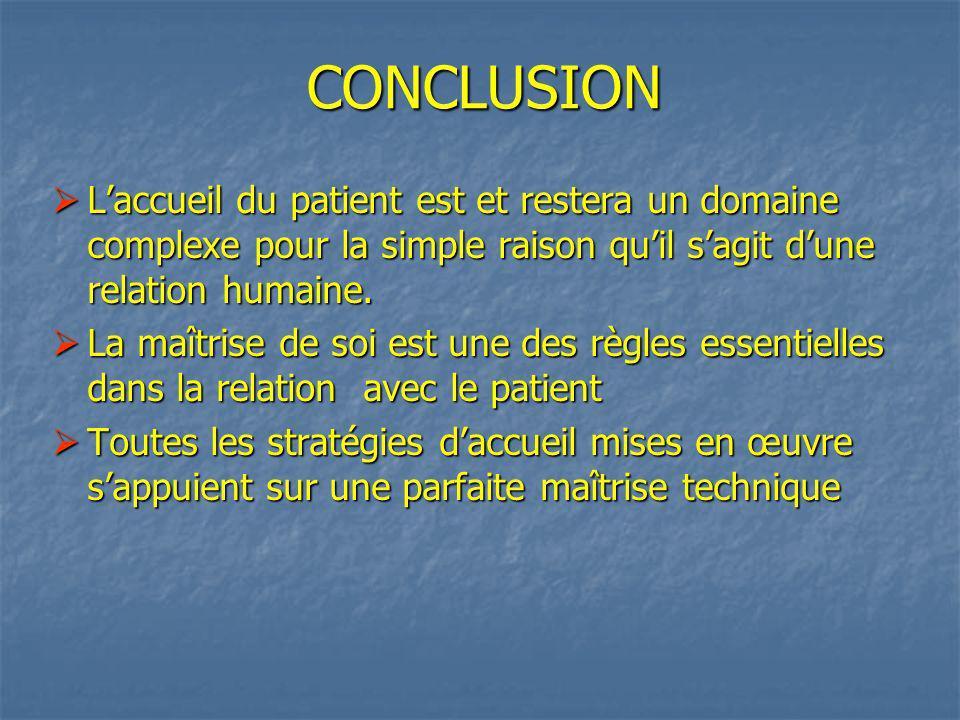 CONCLUSION Laccueil du patient est et restera un domaine complexe pour la simple raison quil sagit dune relation humaine.