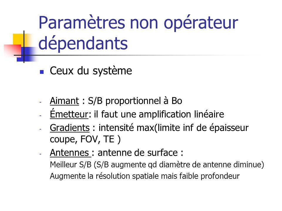 Paramètres non opérateur dépendants Ceux du système - Aimant : S/B proportionnel à Bo - Émetteur: il faut une amplification linéaire - Gradients : int