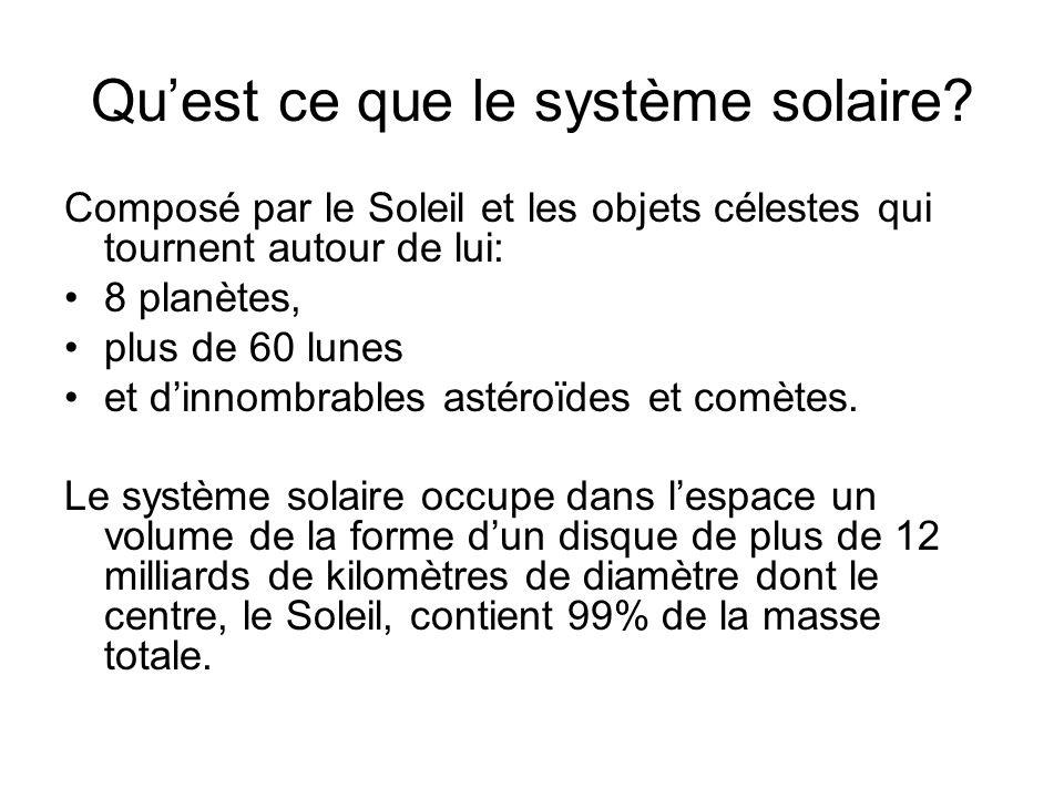 Quest ce que le système solaire? Composé par le Soleil et les objets célestes qui tournent autour de lui: 8 planètes, plus de 60 lunes et dinnombrable