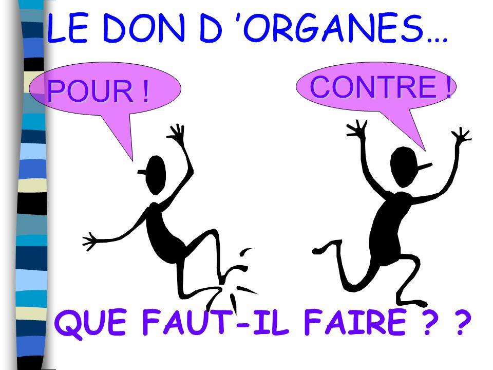 LE DON D ORGANES… QUE FAUT-IL FAIRE ? ? POUR ! CONTRE !