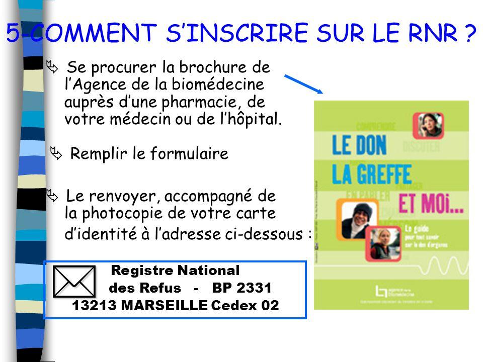 5-COMMENT SINSCRIRE SUR LE RNR ? Se procurer la brochure de lAgence de la biomédecine auprès dune pharmacie, de votre médecin ou de lhôpital. Remplir
