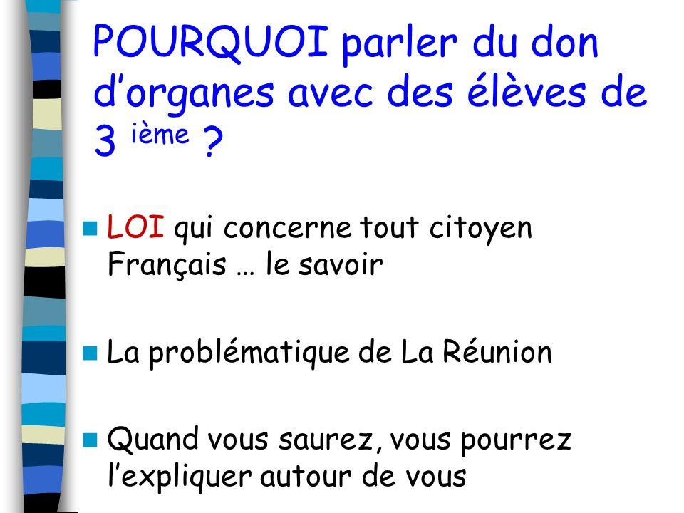 POURQUOI parler du don dorganes avec des élèves de 3 ième ? LOI qui concerne tout citoyen Français … le savoir La problématique de La Réunion Quand vo