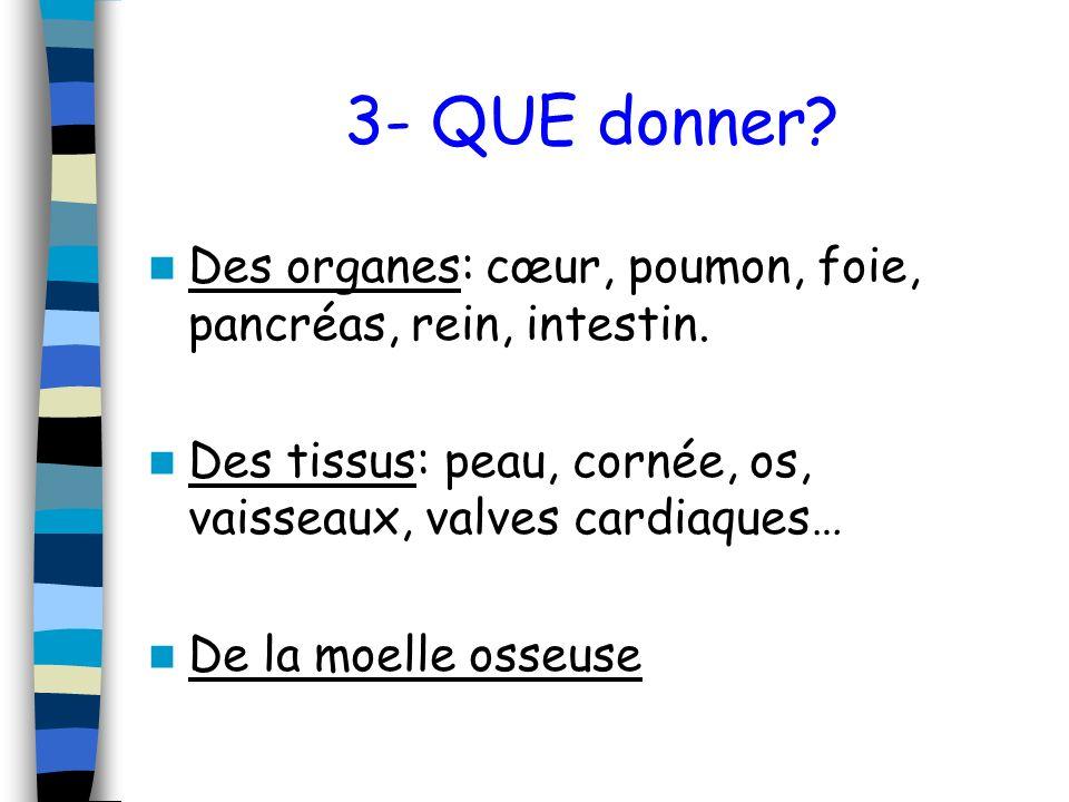 3- QUE donner? Des organes: cœur, poumon, foie, pancréas, rein, intestin. Des tissus: peau, cornée, os, vaisseaux, valves cardiaques… De la moelle oss
