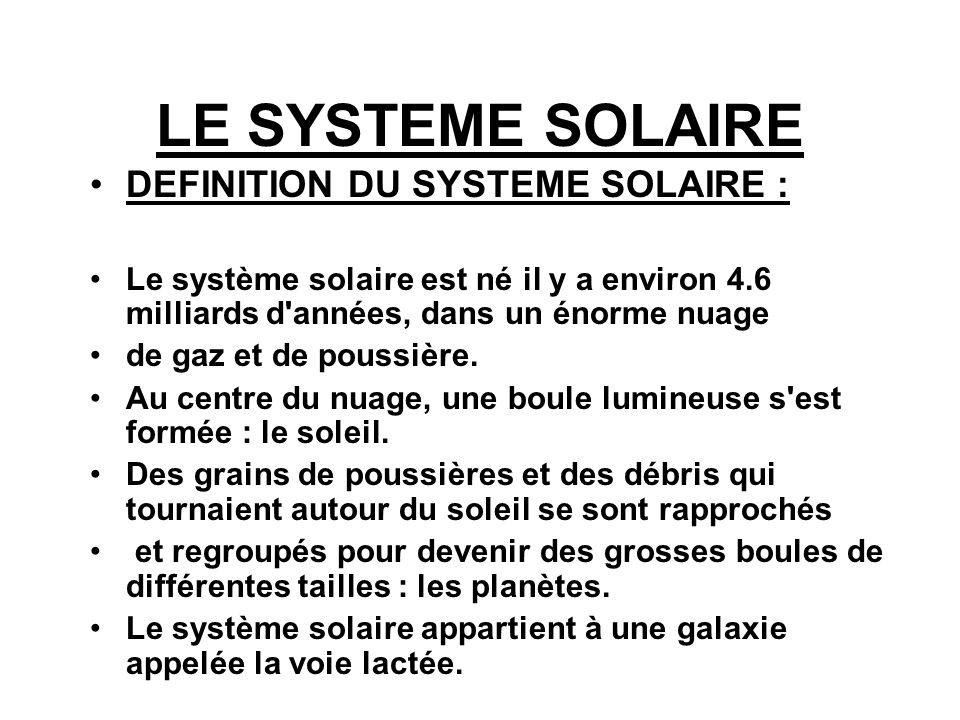 LE SYSTEME SOLAIRE DEFINITION DU SYSTEME SOLAIRE : Le système solaire est né il y a environ 4.6 milliards d'années, dans un énorme nuage de gaz et de
