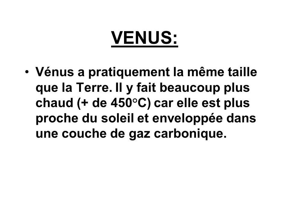 VENUS: Vénus a pratiquement la même taille que la Terre. Il y fait beaucoup plus chaud (+ de 450°C) car elle est plus proche du soleil et enveloppée d