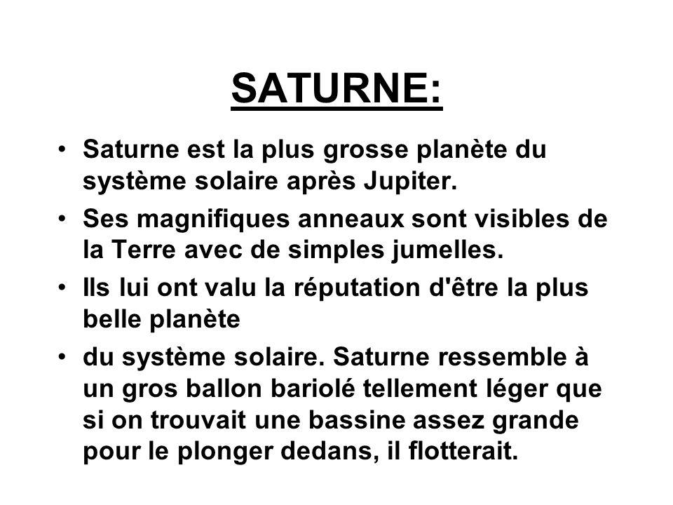 SATURNE: Saturne est la plus grosse planète du système solaire après Jupiter. Ses magnifiques anneaux sont visibles de la Terre avec de simples jumell