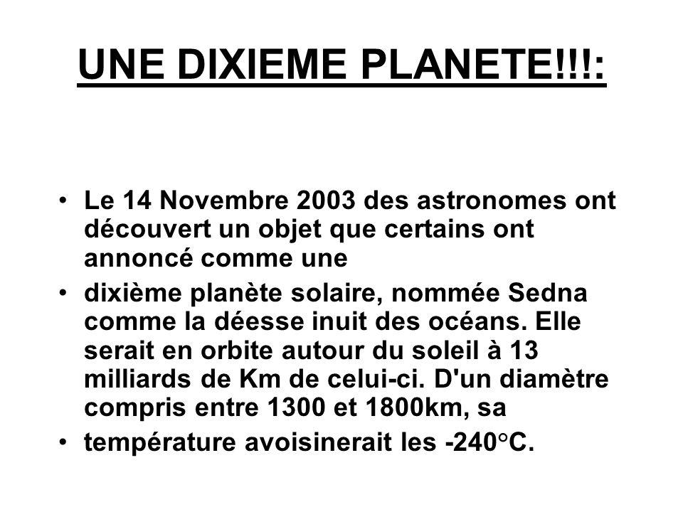 UNE DIXIEME PLANETE!!!: Le 14 Novembre 2003 des astronomes ont découvert un objet que certains ont annoncé comme une dixième planète solaire, nommée S