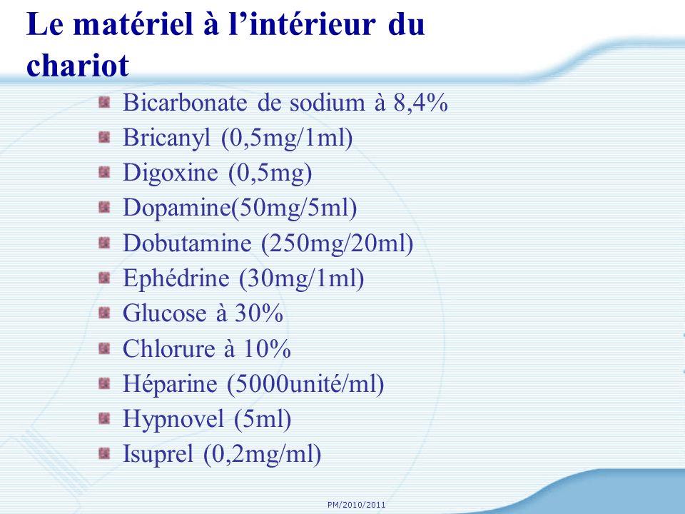 PM/2010/2011 Le matériel à lintérieur du chariot Bicarbonate de sodium à 8,4% Bricanyl (0,5mg/1ml) Digoxine (0,5mg) Dopamine(50mg/5ml) Dobutamine (250mg/20ml) Ephédrine (30mg/1ml) Glucose à 30% Chlorure à 10% Héparine (5000unité/ml) Hypnovel (5ml) Isuprel (0,2mg/ml)
