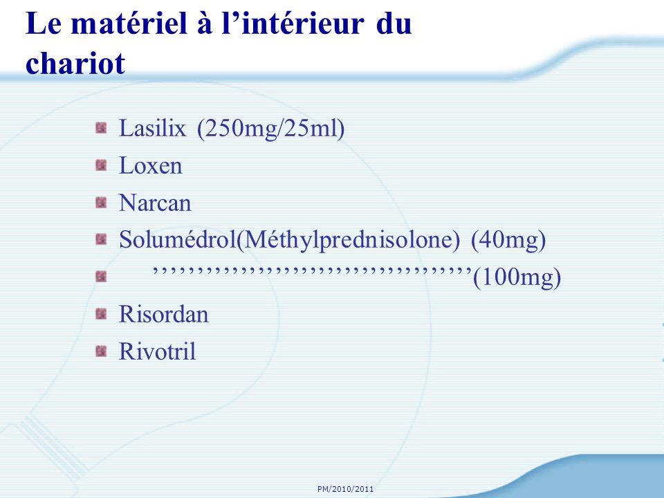 PM/2010/2011 Le matériel à lintérieur du chariot Lasilix (250mg/25ml) Loxen Narcan Solumédrol(Méthylprednisolone) (40mg) (100mg) Risordan Rivotril