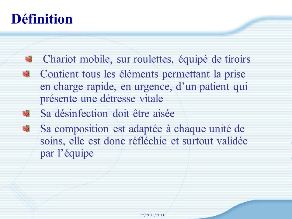 PM/2010/2011 Définition Chariot mobile, sur roulettes, équipé de tiroirs Contient tous les éléments permettant la prise en charge rapide, en urgence,
