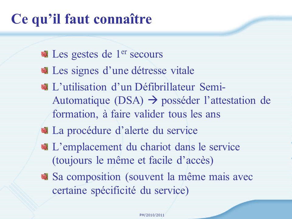 PM/2010/2011 Ce quil faut connaître Les gestes de 1 er secours Les signes dune détresse vitale Lutilisation dun Défibrillateur Semi- Automatique (DSA)