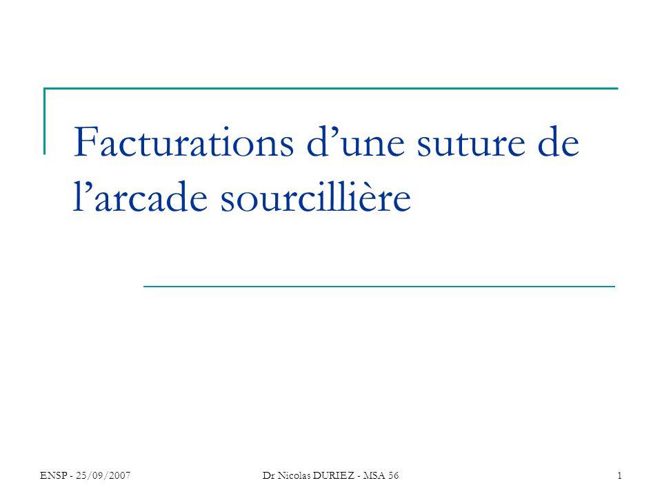 ENSP - 25/09/2007Dr Nicolas DURIEZ - MSA 561 Facturations dune suture de larcade sourcillière
