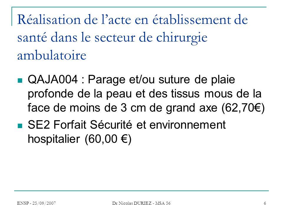 ENSP - 25/09/2007 Dr Nicolas DURIEZ - MSA 56 7 Réalisation de lacte avec une AG en établissement de santé avec hospitalisation dans le secteur de chirurgie ambulatoire QAJA004 : Parage et/ou suture de plaie profonde de la peau et des tissus mous de la face de moins de 3 cm de grand axe (62,70) ZZLP054 : AG ou locorégionale complémentaire niveau 3 (72,00) GHS 8266 Séjours < 2j sans actes opératoires de la CMD02 (exDG 552,76 et exOQN 388,61 )