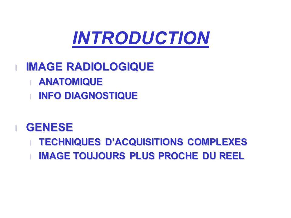 INTRODUCTION l IMAGE RADIOLOGIQUE l ANATOMIQUE l INFO DIAGNOSTIQUE l GENESE l TECHNIQUES DACQUISITIONS COMPLEXES l IMAGE TOUJOURS PLUS PROCHE DU REEL