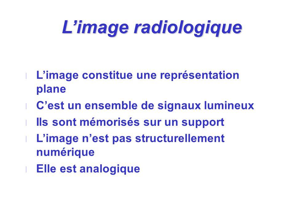 Limage radiologique l Limage constitue une représentation plane l Cest un ensemble de signaux lumineux l Ils sont mémorisés sur un support l Limage ne