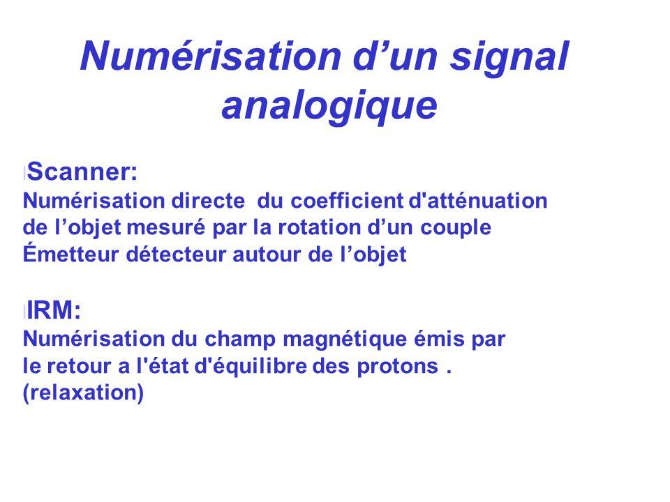 l Scanner: Numérisation directe du coefficient d'atténuation de lobjet mesuré par la rotation dun couple Émetteur détecteur autour de lobjet l IRM: Nu