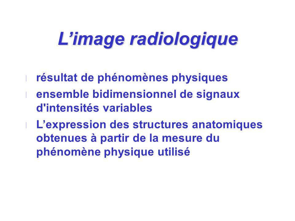 Limage radiologique l résultat de phénomènes physiques l ensemble bidimensionnel de signaux d'intensités variables l Lexpression des structures anatom
