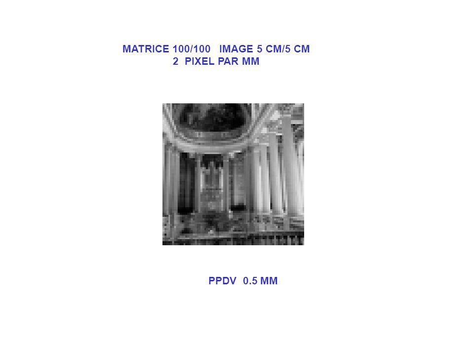 MATRICE 100/100 IMAGE 5 CM/5 CM 2 PIXEL PAR MM PPDV 0.5 MM