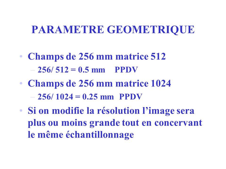 PARAMETRE GEOMETRIQUE Champs de 256 mm matrice 512 –256/ 512 = 0.5 mm PPDV Champs de 256 mm matrice 1024 –256/ 1024 = 0.25 mm PPDV Si on modifie la ré