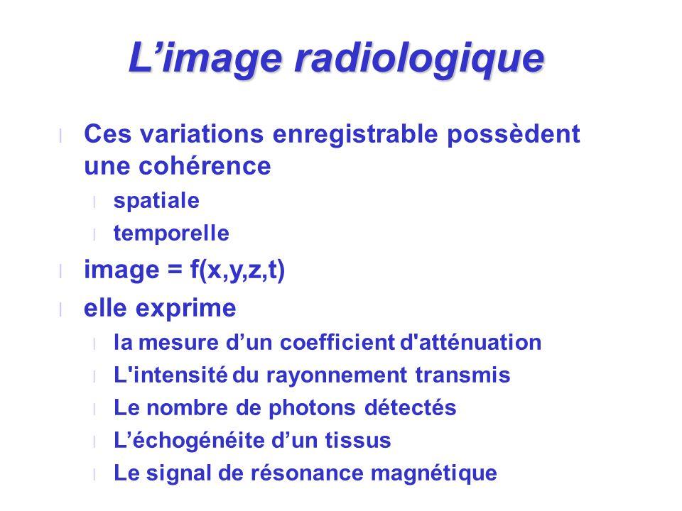 Limage radiologique l Ces variations enregistrable possèdent une cohérence l spatiale l temporelle l image = f(x,y,z,t) l elle exprime l la mesure dun