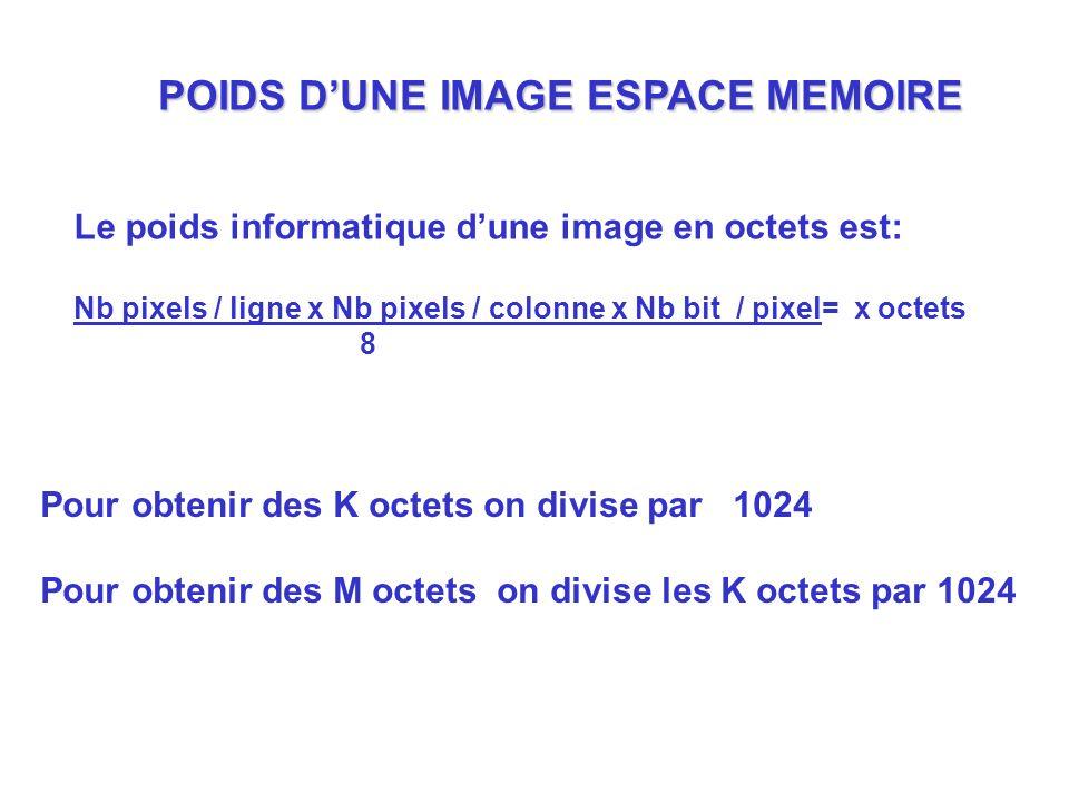 POIDS DUNE IMAGE ESPACE MEMOIRE Le poids informatique dune image en octets est: Nb pixels / ligne x Nb pixels / colonne x Nb bit / pixel= x octets 8 P