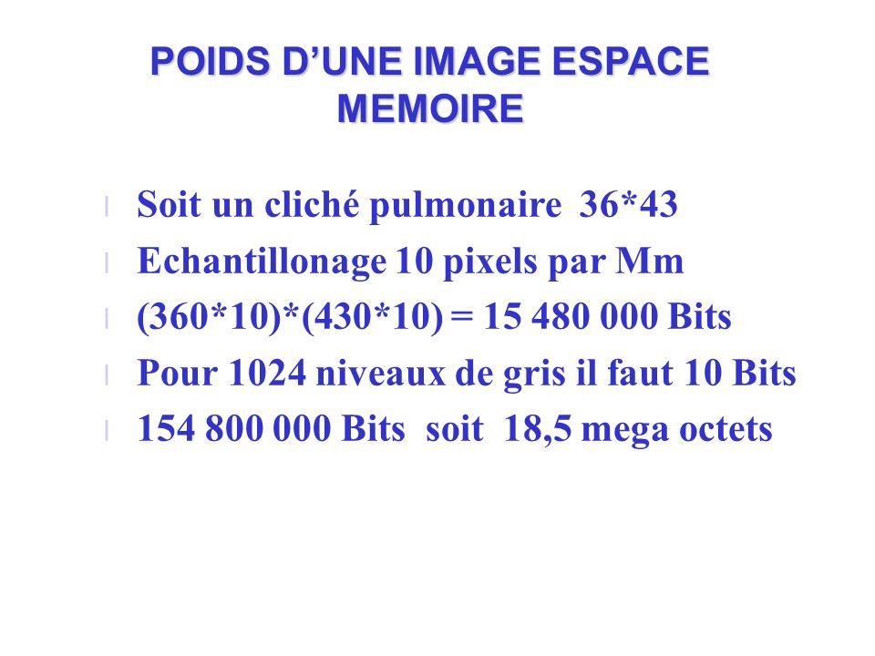POIDS DUNE IMAGE ESPACE MEMOIRE l Soit un cliché pulmonaire 36*43 l Echantillonage 10 pixels par Mm l (360*10)*(430*10) = 15 480 000 Bits l Pour 1024