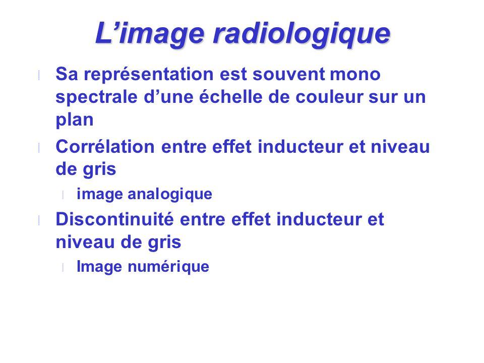 Limage radiologique l Sa représentation est souvent mono spectrale dune échelle de couleur sur un plan l Corrélation entre effet inducteur et niveau d