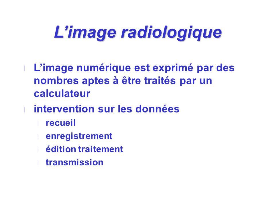 Limage radiologique l Limage numérique est exprimé par des nombres aptes à être traités par un calculateur l intervention sur les données l recueil l