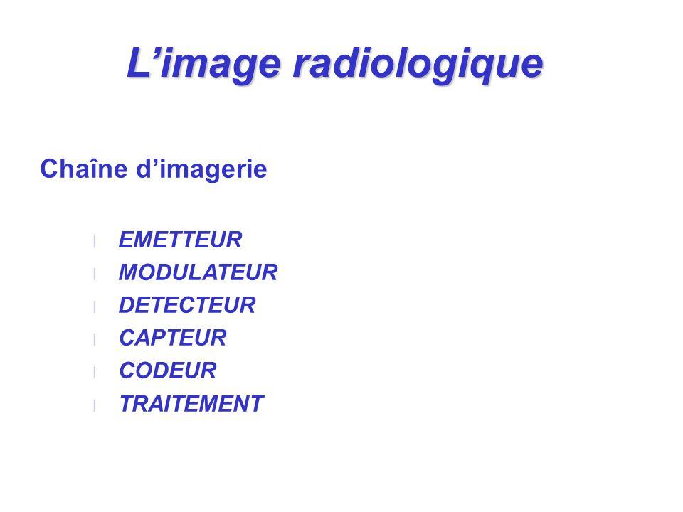 Chaîne dimagerie l EMETTEUR l MODULATEUR l DETECTEUR l CAPTEUR l CODEUR l TRAITEMENT Limage radiologique