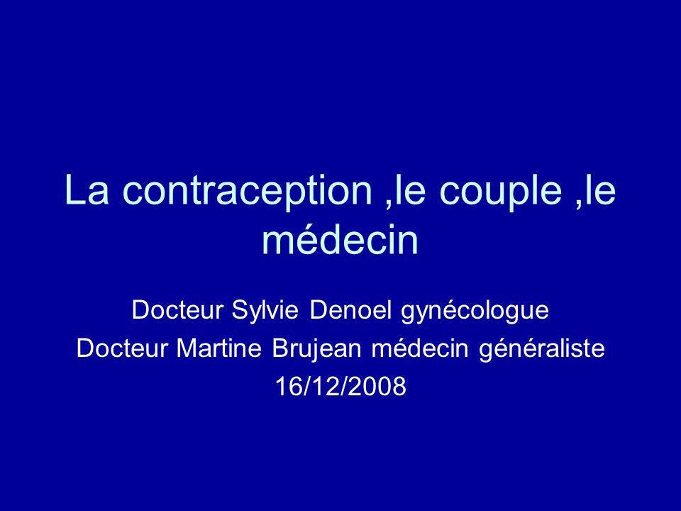 La contraception,le couple,le médecin Docteur Sylvie Denoel gynécologue Docteur Martine Brujean médecin généraliste 16/12/2008