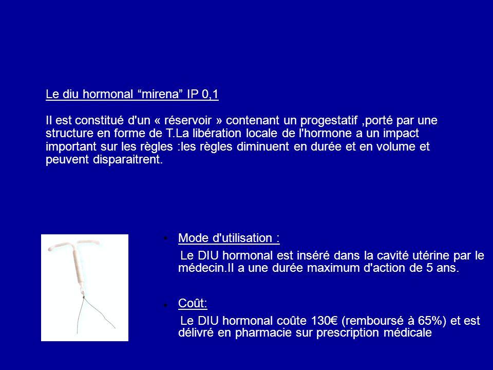 Le diu hormonal mirena IP 0,1 Il est constitué d'un « réservoir » contenant un progestatif,porté par une structure en forme de T.La libération locale