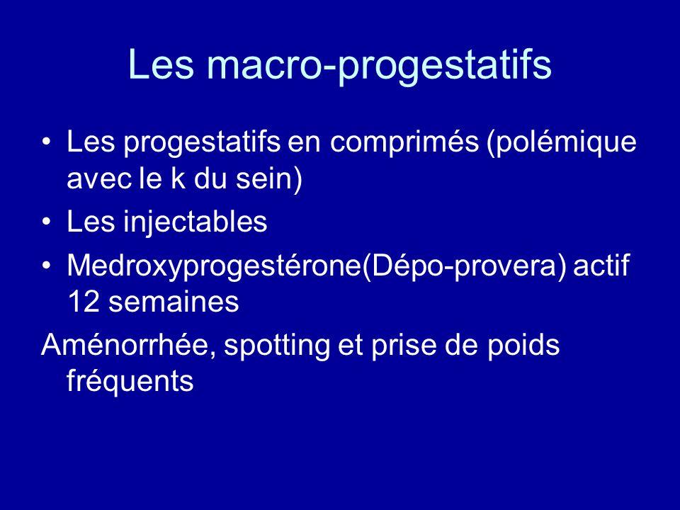 Les macro-progestatifs Les progestatifs en comprimés (polémique avec le k du sein) Les injectables Medroxyprogestérone(Dépo-provera) actif 12 semaines