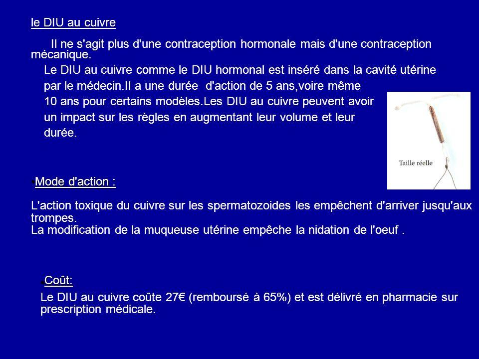 le DIU au cuivre Il ne s'agit plus d'une contraception hormonale mais d'une contraception mécanique. Le DIU au cuivre comme le DIU hormonal est inséré
