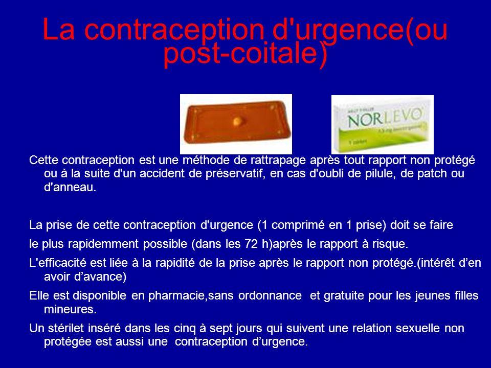 La contraception d'urgence(ou post-coitale) Cette contraception est une méthode de rattrapage après tout rapport non protégé ou à la suite d'un accide