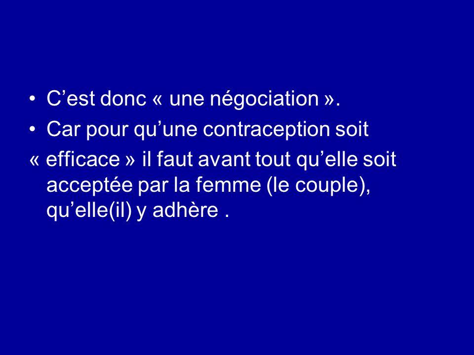 Cest donc « une négociation ». Car pour quune contraception soit « efficace » il faut avant tout quelle soit acceptée par la femme (le couple), quelle