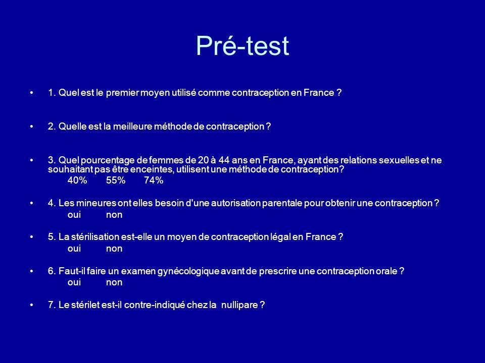 Pré-test 1. Quel est le premier moyen utilisé comme contraception en France ? 2. Quelle est la meilleure méthode de contraception ? 3. Quel pourcentag