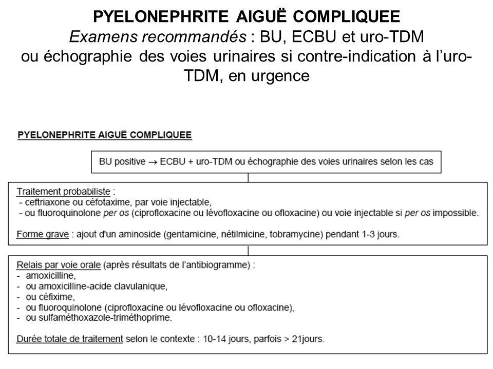 PYELONEPHRITE AIGUË COMPLIQUEE Examens recommandés : BU, ECBU et uro-TDM ou échographie des voies urinaires si contre-indication à luro- TDM, en urgence