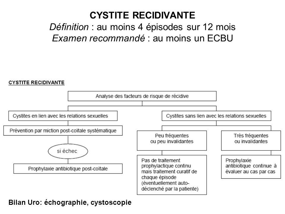 CYSTITE RECIDIVANTE Définition : au moins 4 épisodes sur 12 mois Examen recommandé : au moins un ECBU Bilan Uro: échographie, cystoscopie