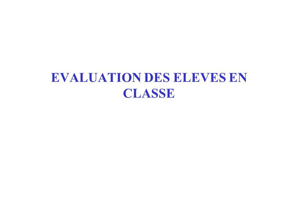 EVALUATION DES ELEVES EN CLASSE