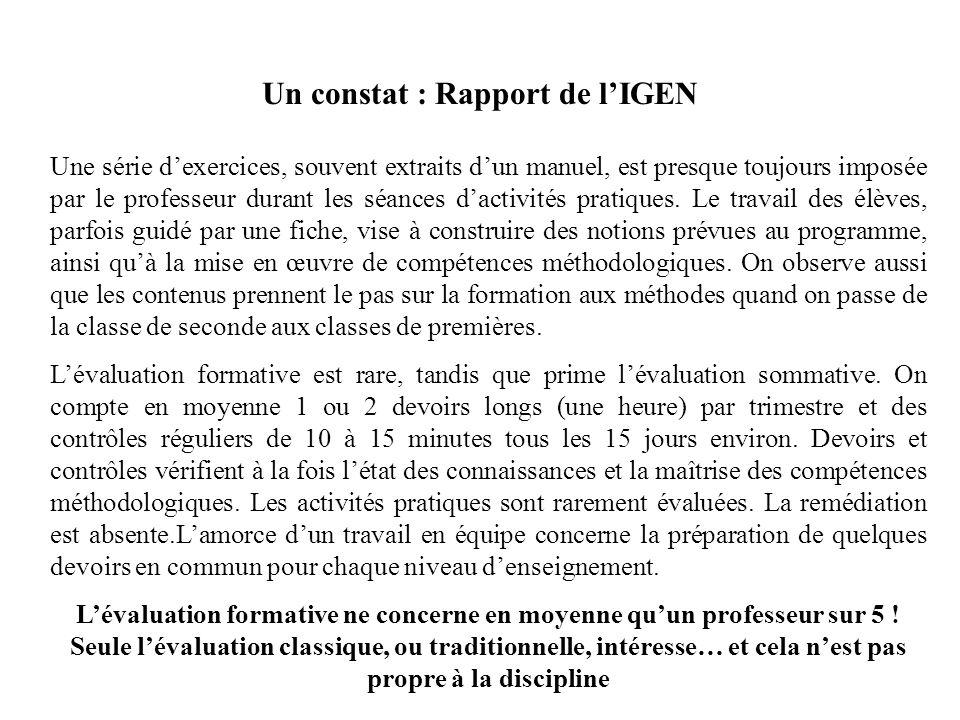 Un constat : Rapport de lIGEN Une série dexercices, souvent extraits dun manuel, est presque toujours imposée par le professeur durant les séances dac