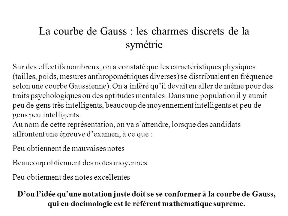 La courbe de Gauss : les charmes discrets de la symétrie Sur des effectifs nombreux, on a constaté que les caractéristiques physiques (tailles, poids,