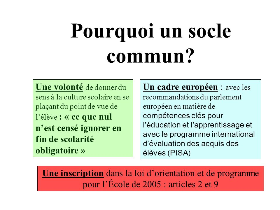 Pourquoi un socle commun? Un cadre européen : avec les recommandations du parlement européen en matière de compétences clés pour léducation et lappren