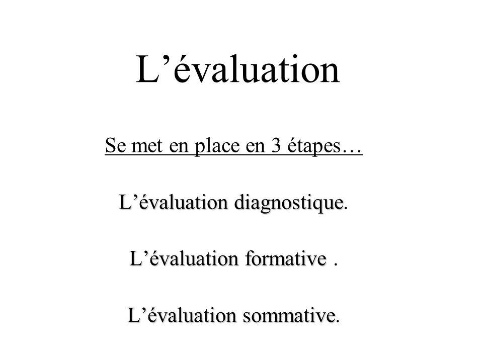 Lévaluation Se met en place en 3 étapes… Lévaluation diagnostique Lévaluation diagnostique. Lévaluation formative Lévaluation formative. Lévaluation s