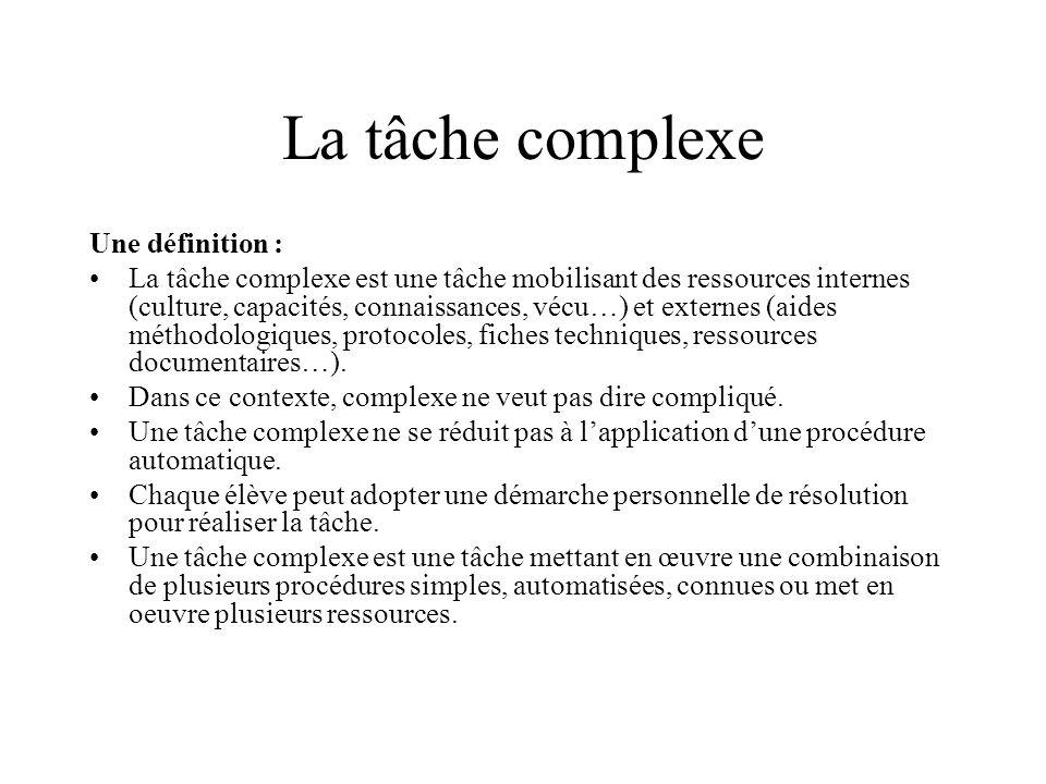 La tâche complexe Une définition : La tâche complexe est une tâche mobilisant des ressources internes (culture, capacités, connaissances, vécu…) et ex
