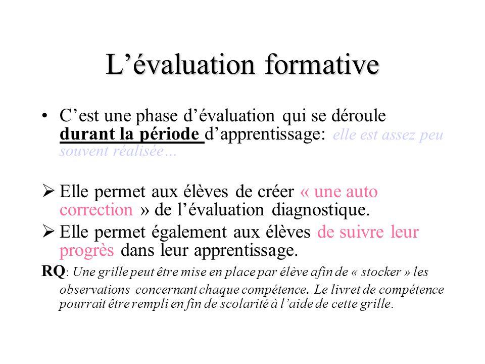 Lévaluation formative Cest une phase dévaluation qui se déroule durant la période dapprentissage: elle est assez peu souvent réalisée… E lle permet au