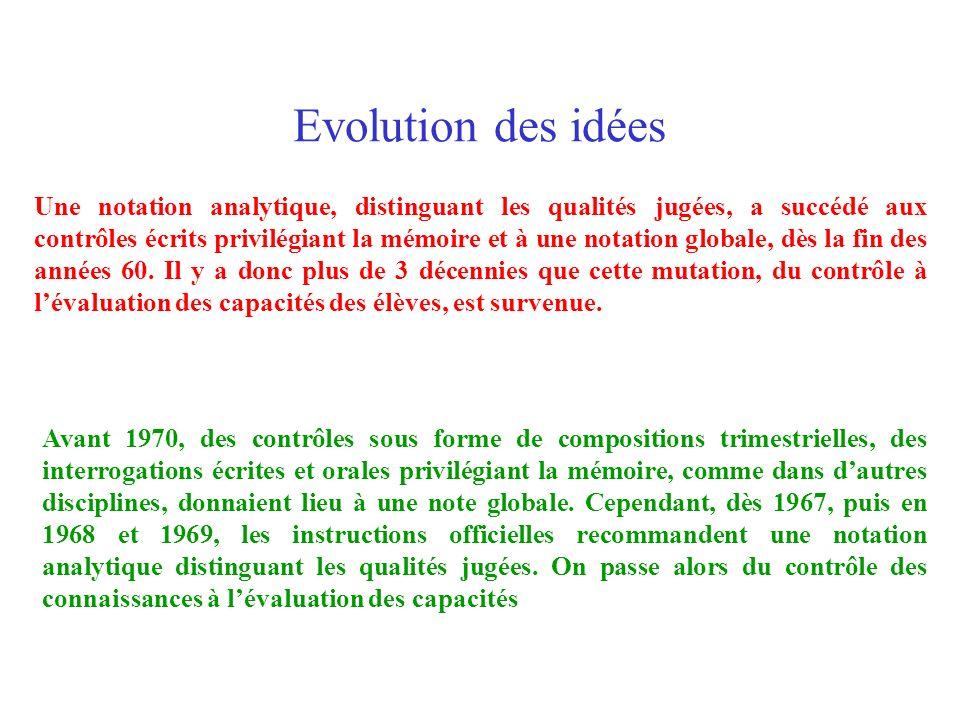 Evolution des idées Une notation analytique, distinguant les qualités jugées, a succédé aux contrôles écrits privilégiant la mémoire et à une notation