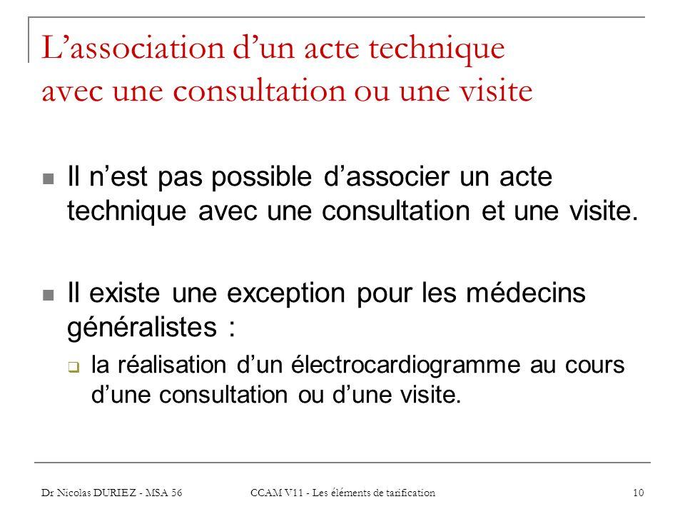 Dr Nicolas DURIEZ - MSA 56 CCAM V11 - Les éléments de tarification 10 Lassociation dun acte technique avec une consultation ou une visite Il nest pas