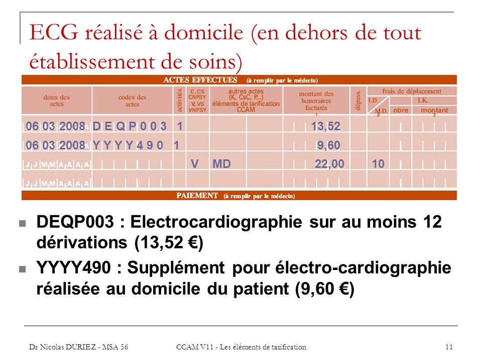 Dr Nicolas DURIEZ - MSA 56 CCAM V11 - Les éléments de tarification 11 ECG réalisé à domicile (en dehors de tout établissement de soins) DEQP003 : Elec