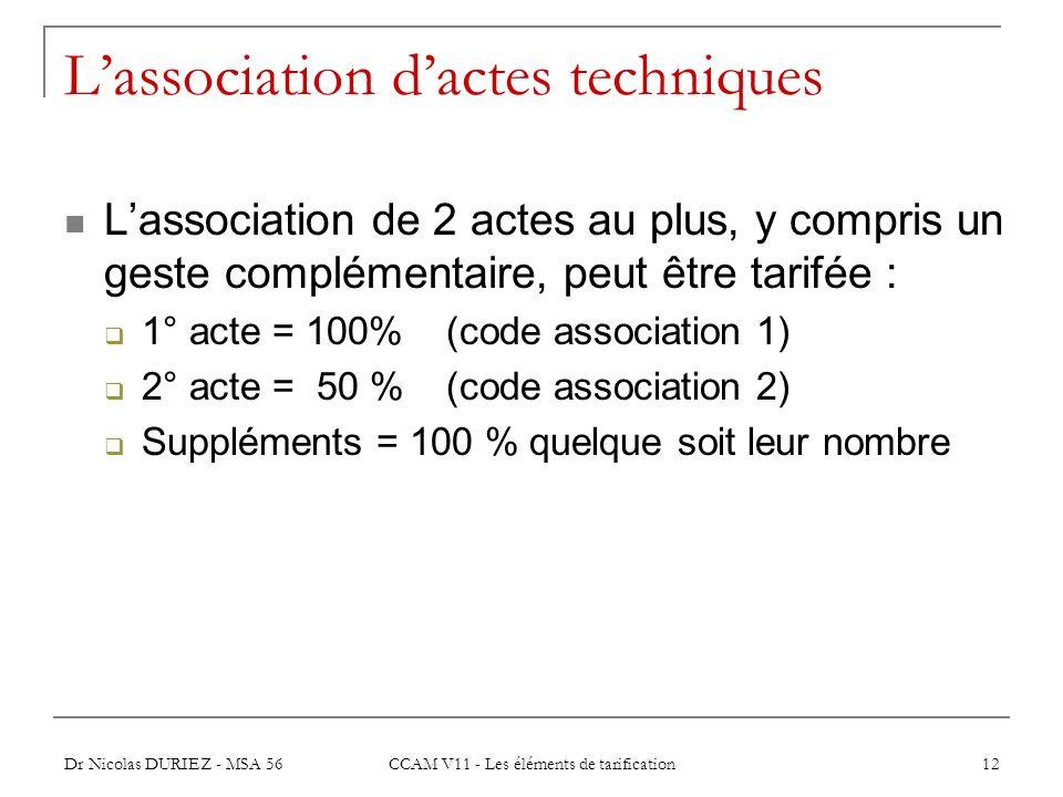 Dr Nicolas DURIEZ - MSA 56 CCAM V11 - Les éléments de tarification 12 Lassociation dactes techniques Lassociation de 2 actes au plus, y compris un ges